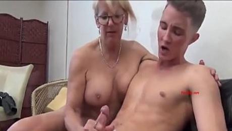 Horny Teacher fucking young cock